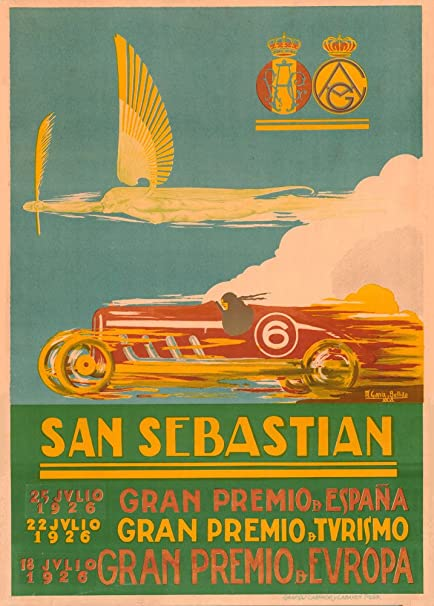 Automóvil del Vintage Gran Premio, circuito de San Sebastian Lasarte, Barcelona, España, 1926. 250 gsm brillante Art Tarjeta A3 reproducción de póster: Amazon.es: Hogar