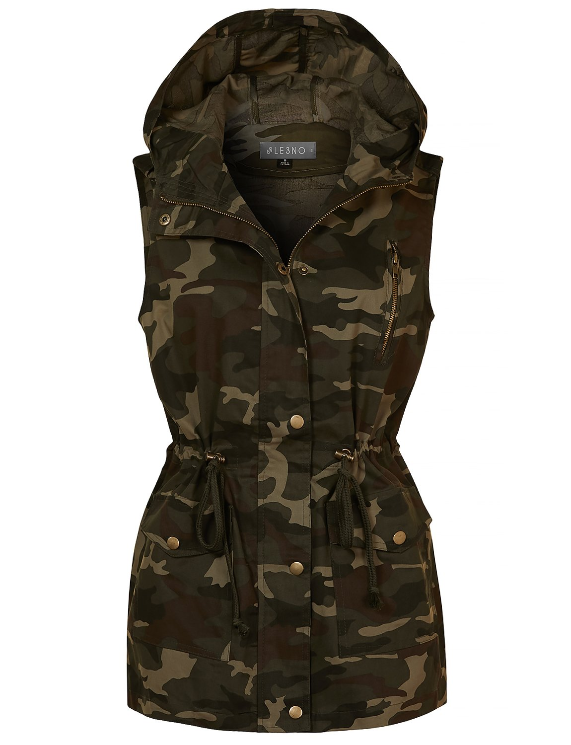 LE3NO Womens Safari Camo Drawstring Waist Hoodie Military Anorak Vest with Pockets