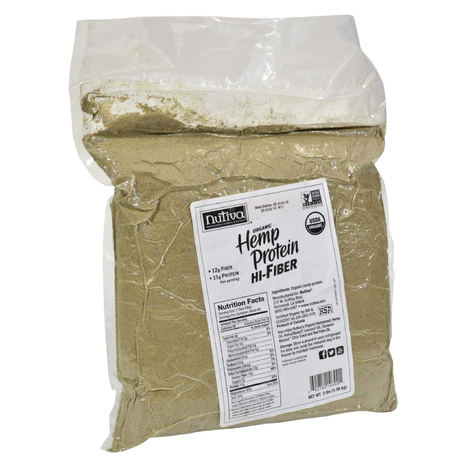 Nutiva Organic Hemp Protein Hi-Fiber - 3 lbs - 95%+ Organic - Vegan - Extremely nutritious and Delicious