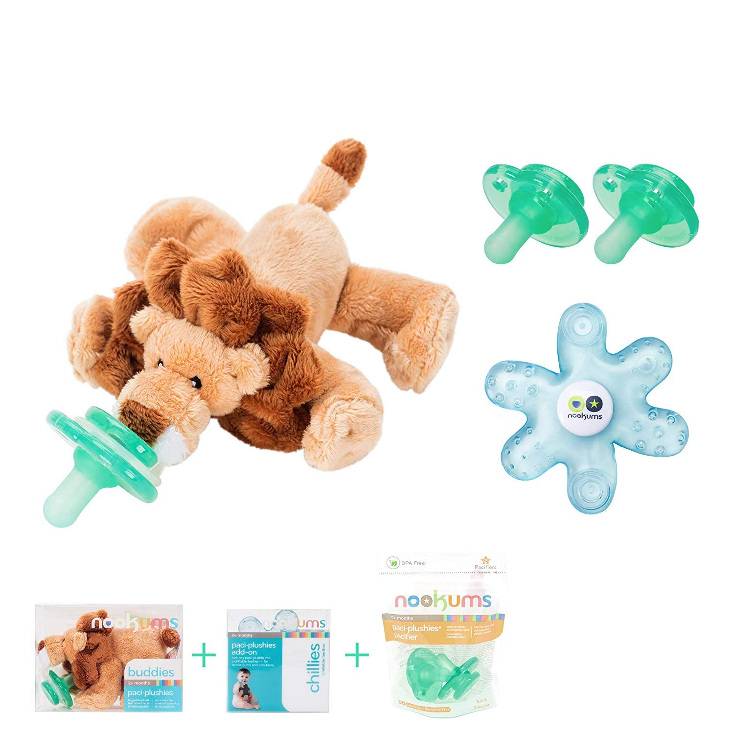 Nookums Paci-Plushies Replacement Pacifier 4 Pack