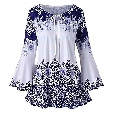 e20a70521c839 Guesspower Chemisier Femme Manches Longues Tunique Blouses Tops T-Shirt  Mode Femmes Grand Taille Imprimé