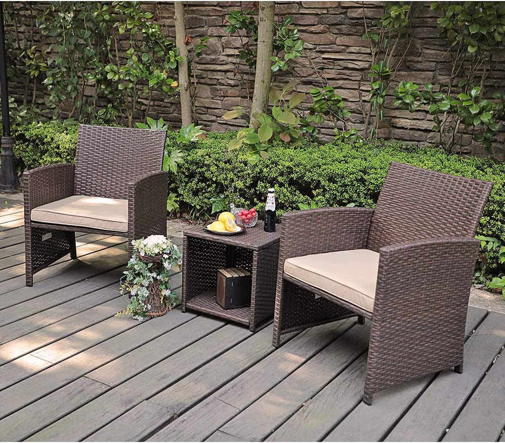 OC Orange-Casual Outdoor Garden 3 Pieces Brown PE Rattan Wicker Patio Furniture Sets, Side Table with Storage Function, with Beige Seat Cushion