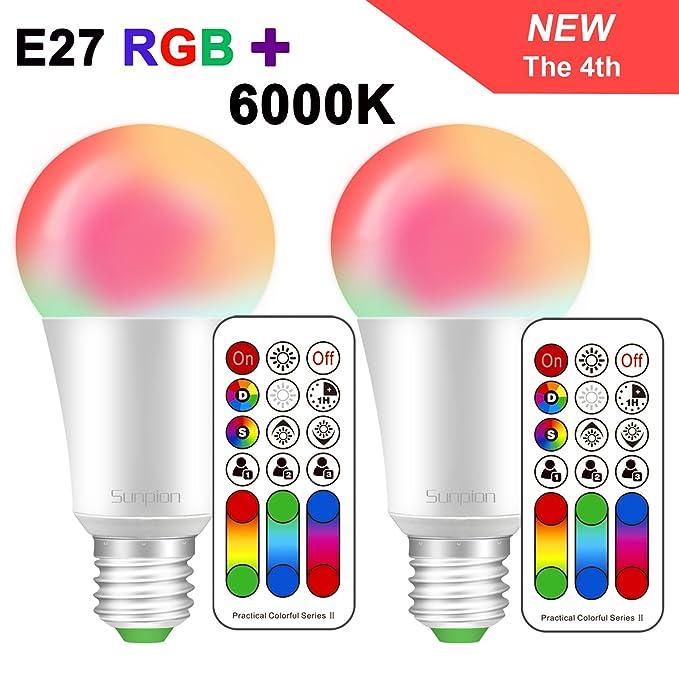 30 opinioni per Sunpion (2 Pack) 10W RGBW Lampada Bulbo a LED, E27 RGB+6000K Cambia Colore LED