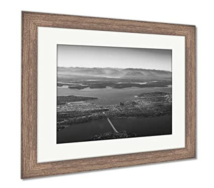 Amazon.com: Ashley Framed Prints Aerial View Of Seattle Puget Sound ...