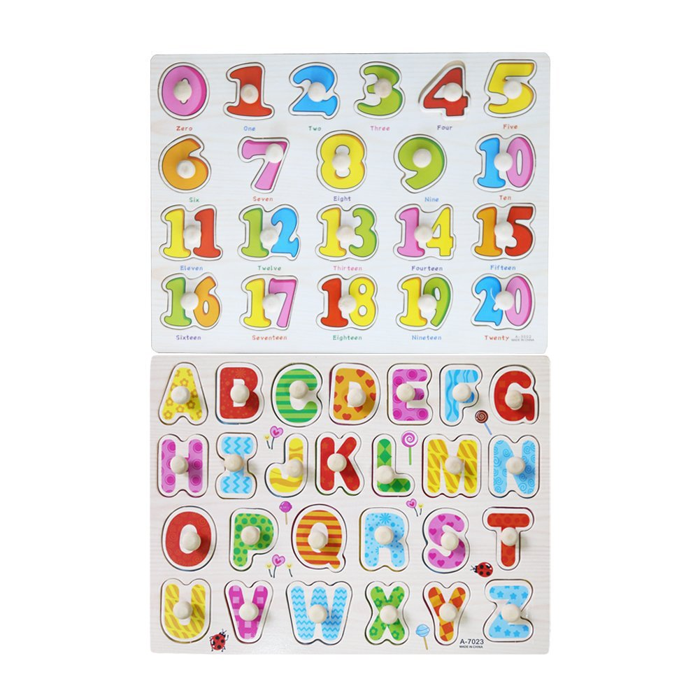 Meshion Home Learning Preschool Early Educational Colorful 1-20 Number+ 26 Letter Pegged Puzzles,Shape Toys for Boys, Girls Toddlers and Kids for Age 2-7 Years Old