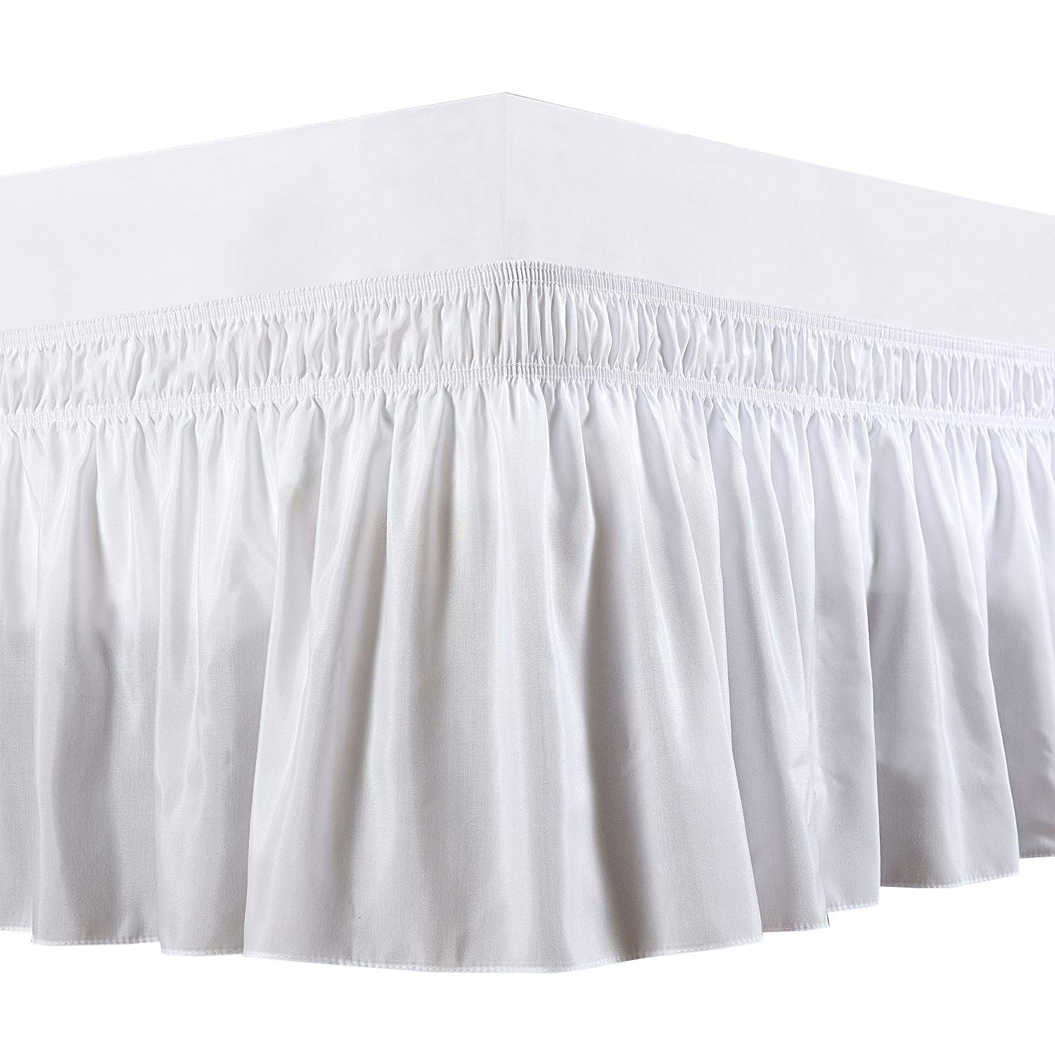 Rajlinen Wrap Around Bed Skirt -Polyester/Microfiber Elastic Dust Ruffle Three Fabric Sides Silky Soft & Wrinkle Free Classic Stylish Look in Your Bedroom (White, King /14)