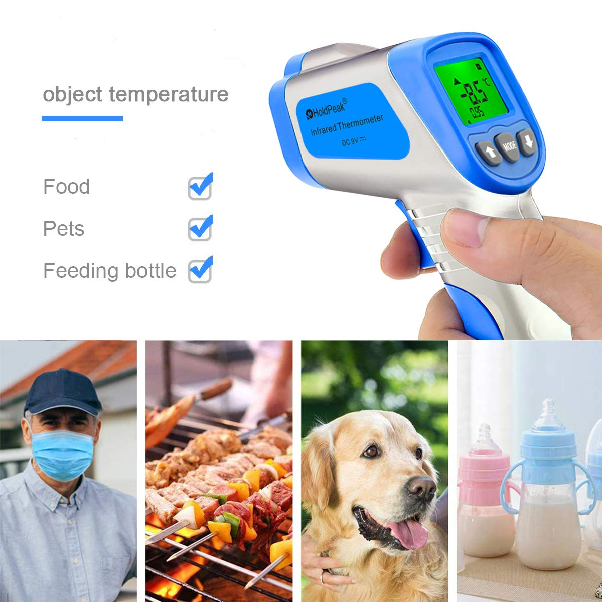 89 to109℉ HOLDPEAK Infrared Thermometer HP-981AS Non-Contact Digital Handheld Temperature Measure Instant-Read 32℃~43℃ 50 ℃~380 ℃ Two Modes Suit for family and Industrial Use -58~716 ℉ Battery Included