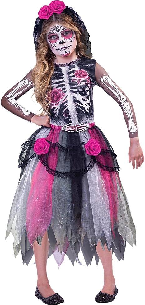 Generique - Disfraz Día de los Muertos niña 8-10 años (128-134 cm ...