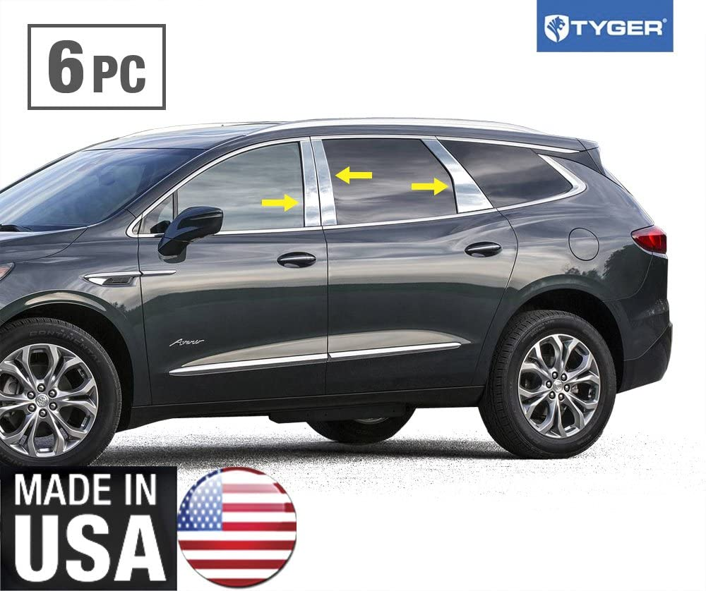 Works with 2018-2020 Buick Enclave 6PC Stainless Accent Pillar Post Trim Cover Overlay Tyger Auto Made in USA