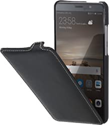 StilGut UltraSlim Case, custodia flip case in vera pelle per Huawei Mate 9, nero