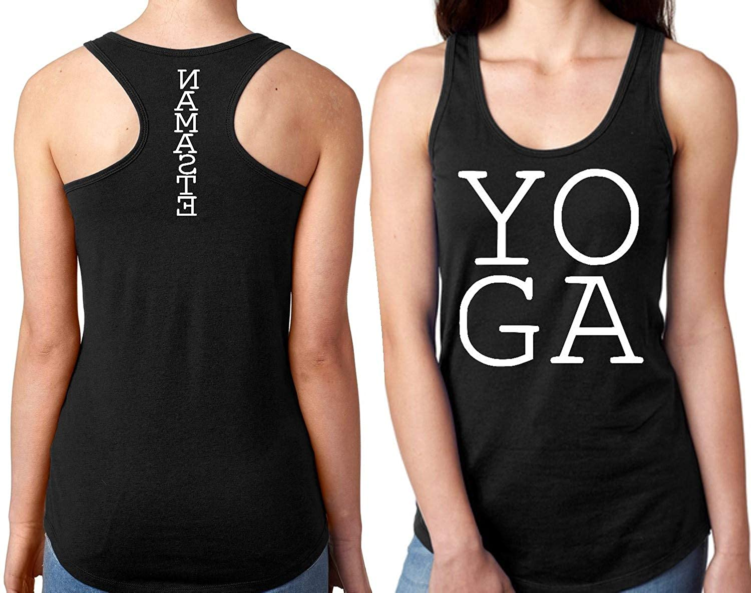 T shirts R Funn Yoga Tank Tops for Women (Black)