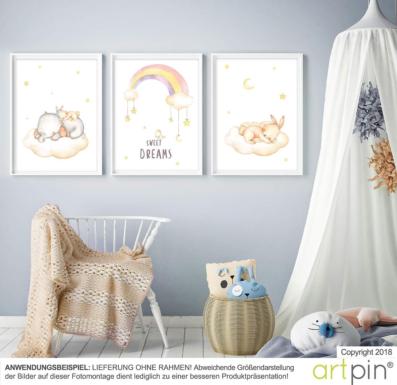 Images de chambre de b/éb/é D/écoration dans le style scandinave Noir//blanc ou multicolore Images murales A4 pour gar/çon et fille artpin/® Poster de chambre denfants de lartiste