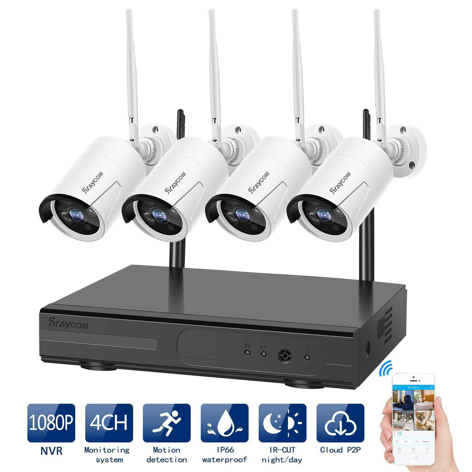 Rraycom Security Camera System Wireless,4CH 1080P NVR with 4Pcs 720P 1.0MP Outdoor/Indoor WiFi Surveillance Wireless Weatherproof IP Cameras,65ft Night Vision, App Remote View, P2P,Plug Play,No HDD by Rraycom