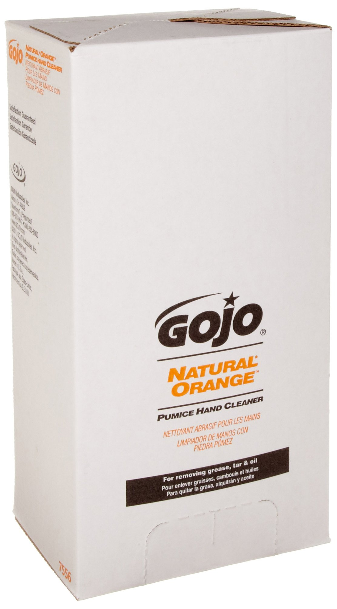 GOJO NATURAL ORANGE Pumice Industrial Hand Cleaner, 5000 mL Quick Acting Lotion Hand Cleaner Refill for GOJO PRO TDX Dispenser (Pack of 2) - 7556-02 by Gojo (Image #1)