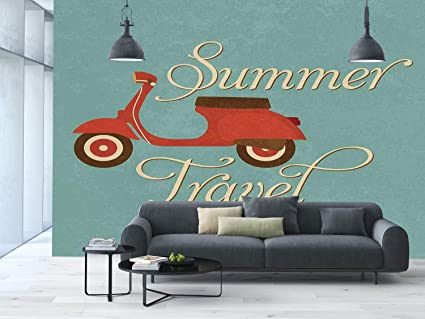 amazon com large wall mural sticker [ 1960s decorations,summerlarge wall mural sticker [ 1960s decorations,summer travel scooter vacation vespa classic wheels rock
