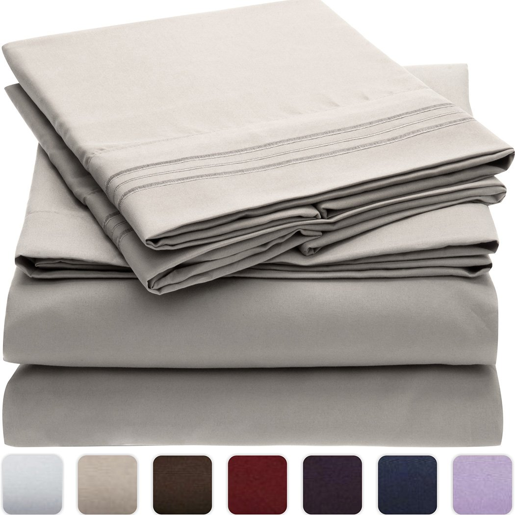 Mellanni Bed Sheet Set Hypoallergenic - 4 Piece Full, Light Gray