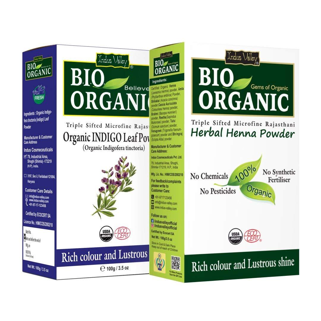 Indus Valley Bio Organic Natural Indigo Powder and Henna Powder Combo for Black Hair Colour (100+100 g)
