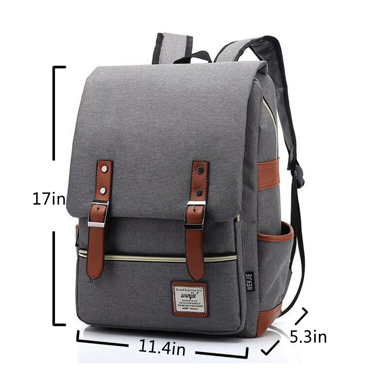 Vintage Canvas Backpack - Lightweight Canvas Laptop Outdoor Backpack, Travel Backpack with Laptop Sleeve, College School Bag with Side Pockets Canvas Rucksack for School Working Hiking (Retro Grey) by GoTravel2 (Image #2)