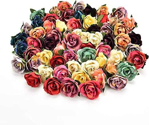 "100Pc Artificial Rose Heads 2/"" Flower Silk Bulk Party Wedding Fake Bouquet Decor"