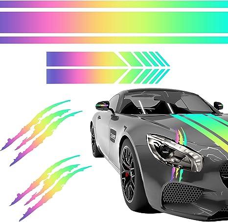 Reflective Decoration Multicolor Vinyl Sticker DIY Stripe Car Body Decal Racing