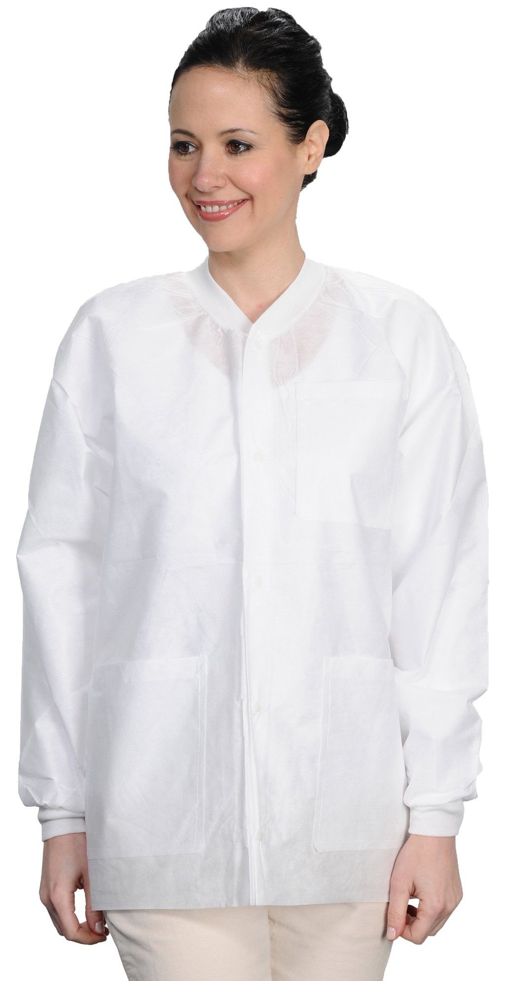 ValuMax 3530WHXL Easy Breathe Cool and Strong, No-Wrinkle, Professional Disposable SMS Hip Length Jacket, White, XL, Pack of 10