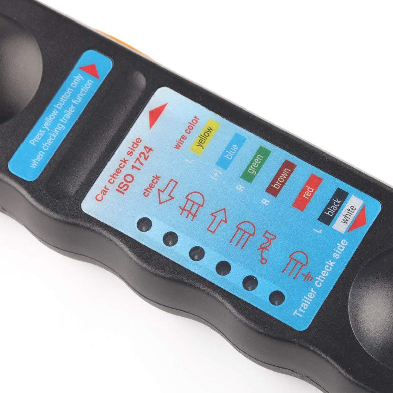 Negro JohnJohnsen Remolque Luces de Remolque Enchufe y Enchufe Cable Cable Cableado Probador 12V 7 Pin
