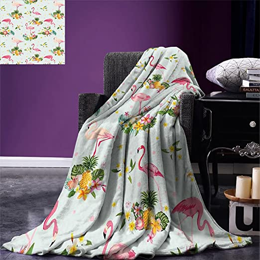 smallbeefly Flamingo Throw Blanket Flamingo Bird Tropical Flowers Fruits Pineapples Vintage Style Artwork Warm Microfiber All Season Blanket for Bed or Couch Yellow Green Pale Pink