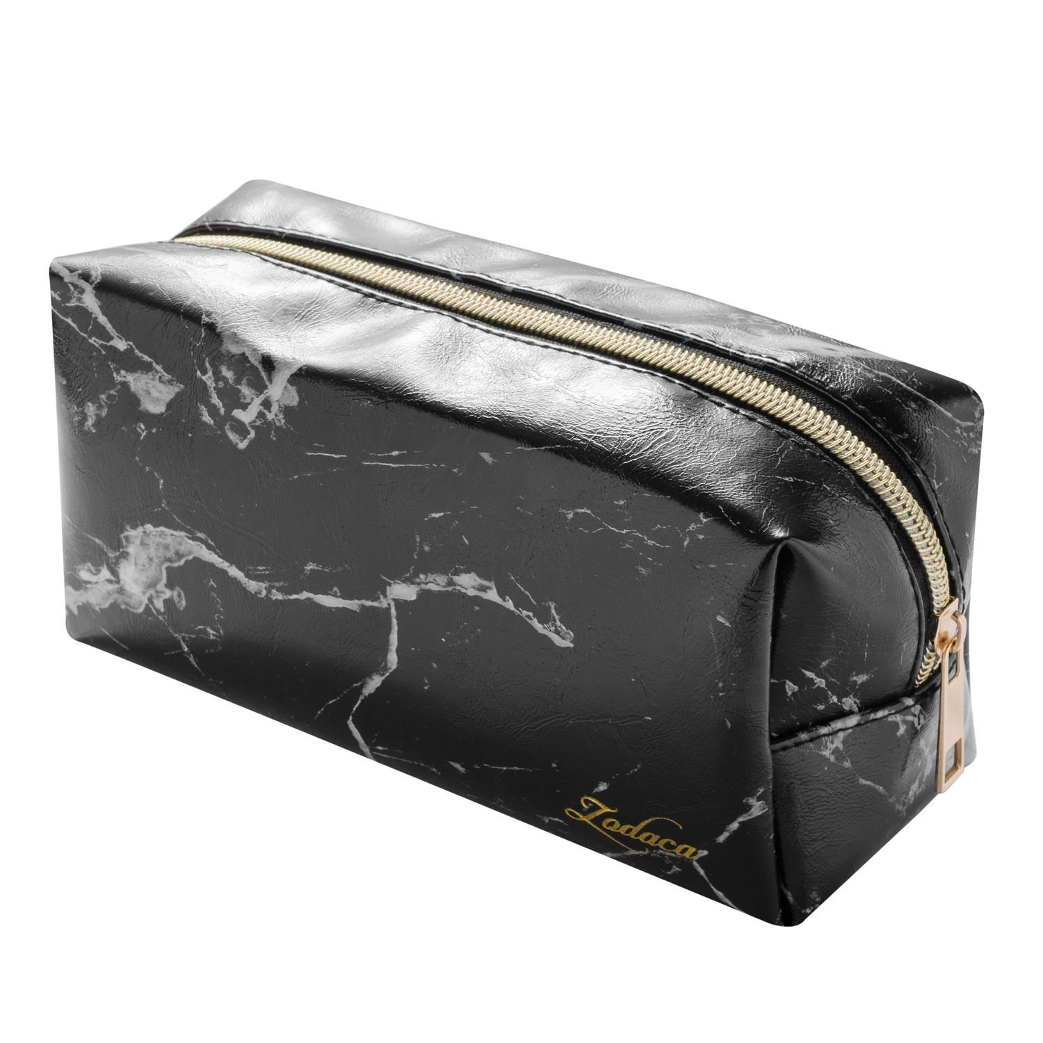 "Marble Cosmetic Bag, Zodaca Marble Pattern Portable Gold Zipper Makeup Brushes Bag Travel Cosmetic Pouch Toiletry Organizer Pencil Case for Ladies/Women, Black (7.7"" x 3.5"" x 3.1"")"