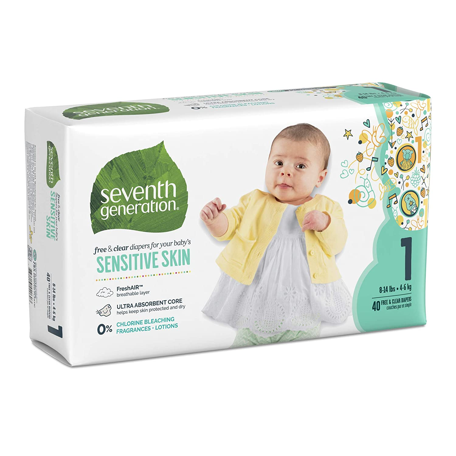 Size 5 92 Count 4 Pack of 23 Seventh Generation Free and Clear Sensitive Skin Baby Diapers with Animal Prints