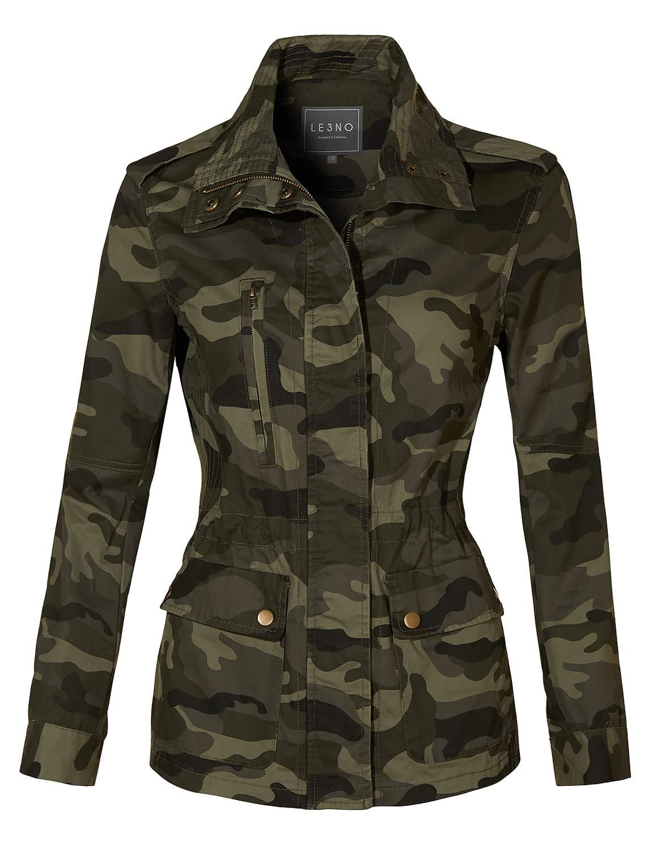 LE3NO Womens Long Sleeve Drawstring Waist Camo Military Anorak Jacket with Pockets
