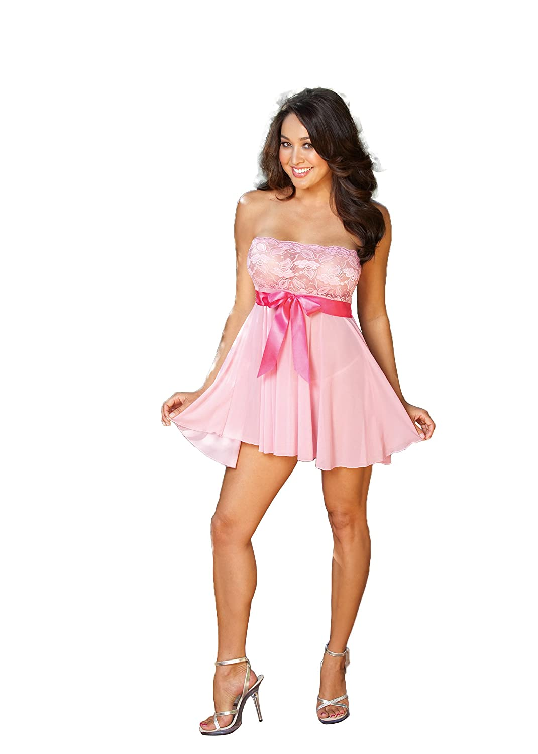 Shirley of Hollywood Women's Elegant Strapless Bow Trimmed Babydoll Pink One Size 96273