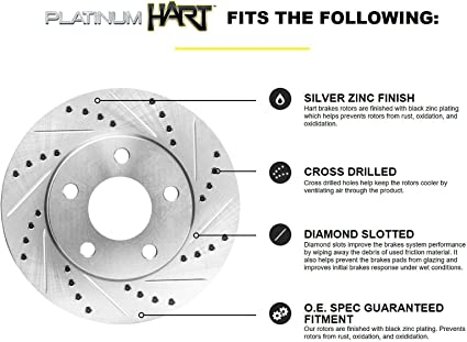 Auto Shack PERF41422537 Rear Drilled and Slotted Brake Rotors and Performance Ceramic Pads