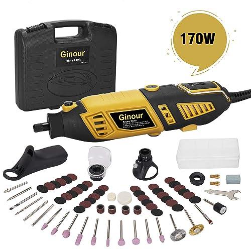 Amoladora eléctrica Ginour 170W con 109 accesorios 7 Velocidad Variable Kit de herramientas Mini Amoladora Herramienta Rotativa Multi herramienta para artesanías manualidades
