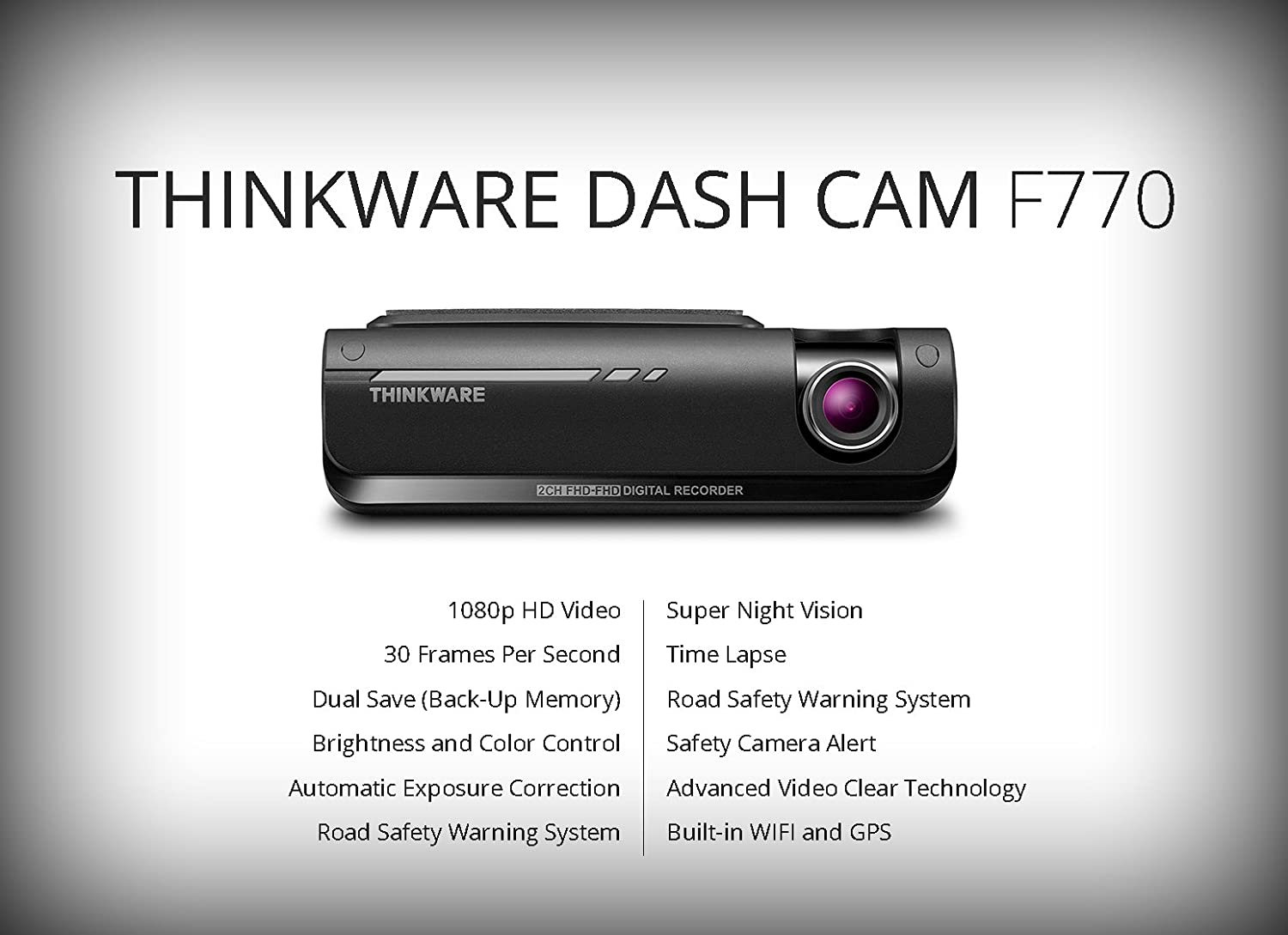 Amazon.com: THINKWARE F770 2-Channel Dash Cam | Front and Rear ...