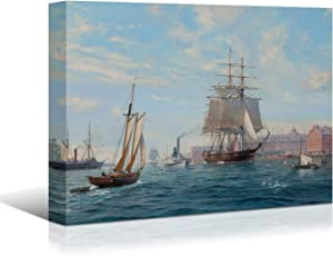 Looife Ocean Theme Canvas Wall Art, 48x32 Inch Sailing Boat with The Pier Coastl Picture Prints Wall Decor, Sailing Ship Painting Deco for Living Room, Bedroom, Bathroom and Hotel, Ready to Hang
