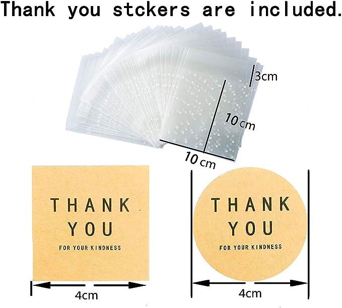 CozofLuv 100 pz Sacchetti autoadesivi e 102 pz Adesivi Etichette Grazie Borse Caramelle Sacchetto di Tenuta del Partito Biscotto 10x10+3cm
