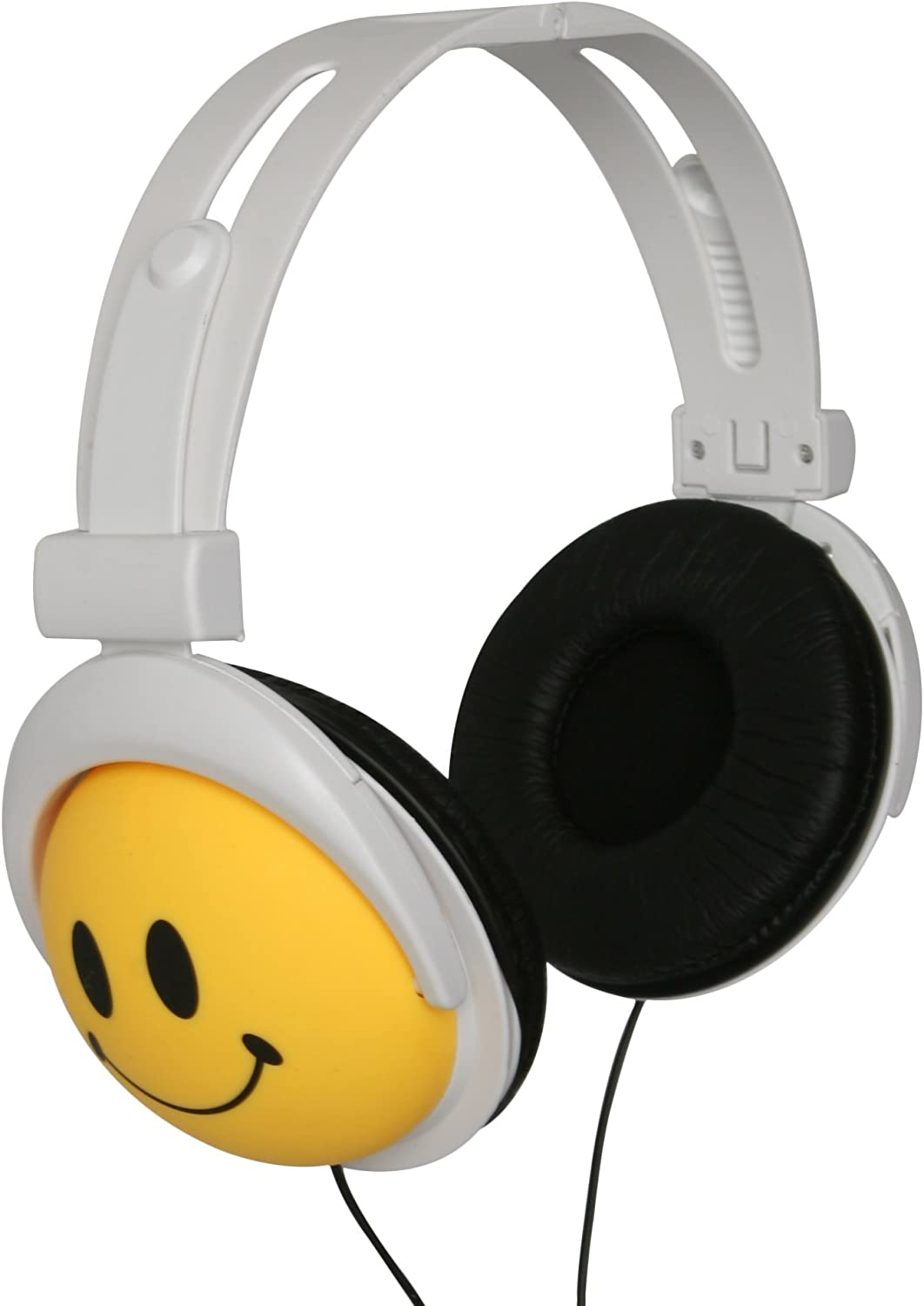 Original Authentic Happy CANZ Headphones by Roxant with Smiley Face Emoji, Foldable, Fully Adjustable Over-Ear Padded Comfort