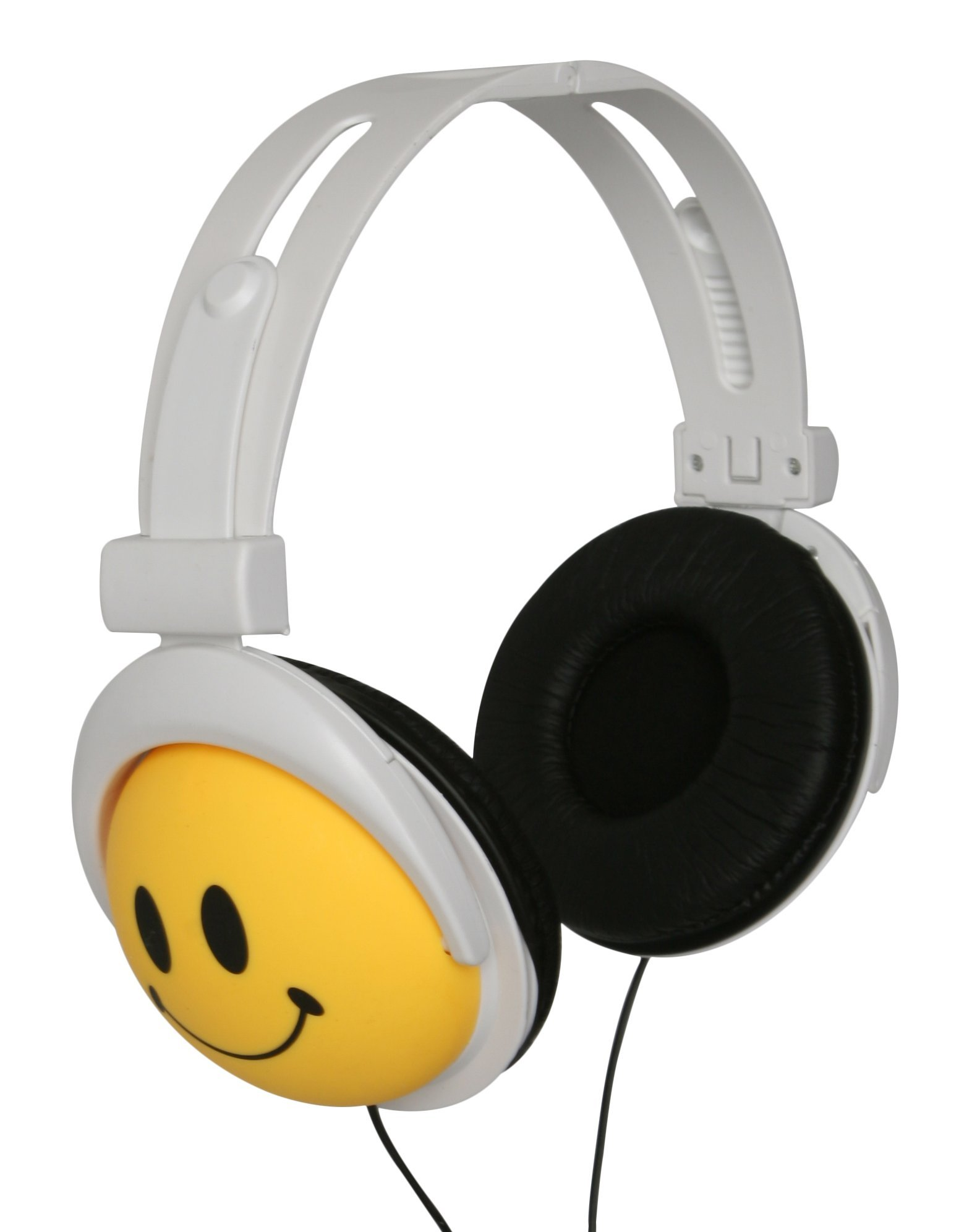 Original AUTHENTIC HAPPY CANZ Smiley Face Emoji Foldable Fully Adjustable Over-Ear Padded Headphones by Roxant by Roxant (Image #1)