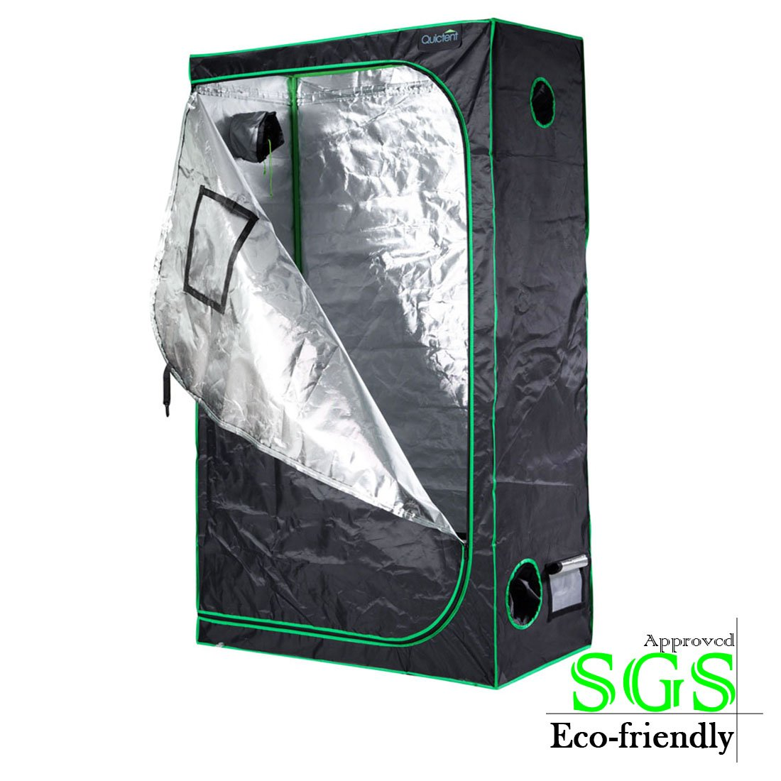"""Quictent SGS Approved Eco-friendly 48""""x24""""x84"""" Reflective Mylar Hydroponic Grow Tent with Heavy Duty Anti-burst Zipper and waterproof Floor Tray for Indoor Plant Growing 4'x2'"""