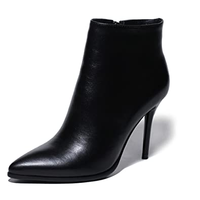 Genuine Leather Women's Pointed Toe Stiletto Heel Handmade Basic Classic Ankle Booties