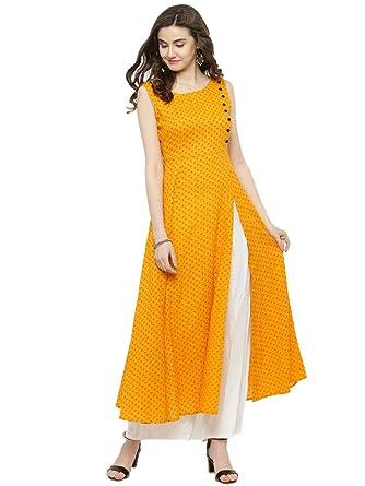 95a75e3bf13 SERA Women s Viscose Printed Long Kurta with Palazzo Set (Yellow and White