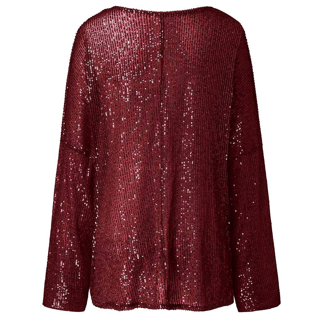 Womens Sequin Tops Ladies Long Sleeve Loose O Neck Shining T Shirts Fashion Party Blouse Pullover