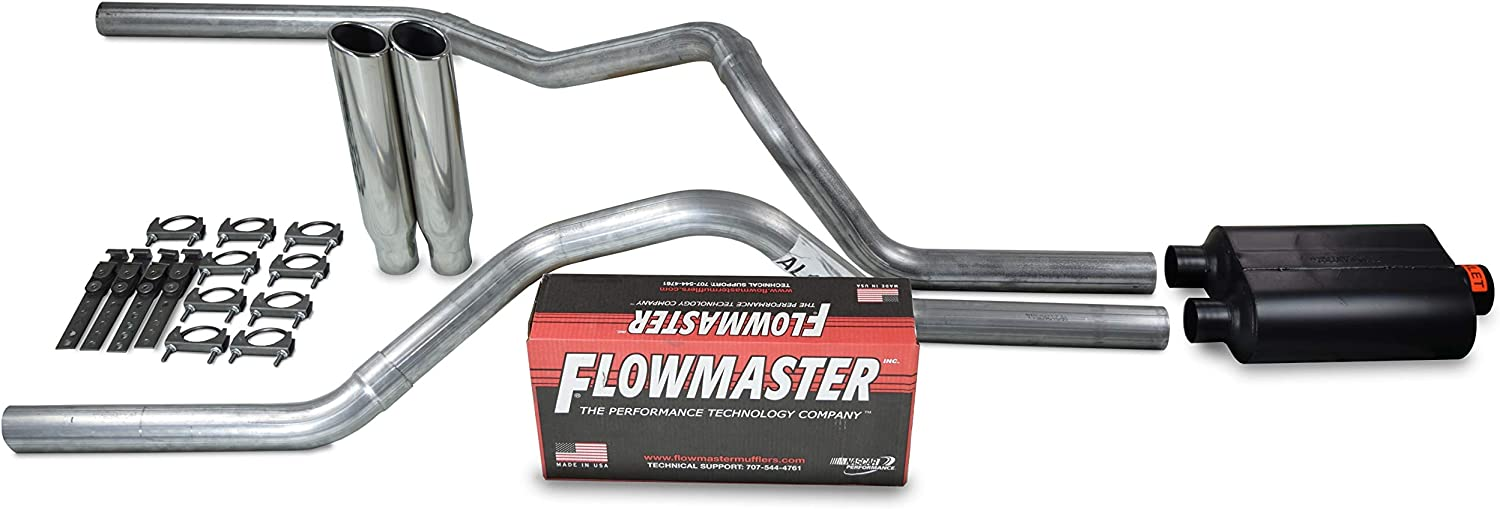 Truck Exhaust Kits Shop Line dual exhaust system 2.5 AL pipe Flowmaster Super 10 2.5 Polished Rolled Edge Clamp on Tip