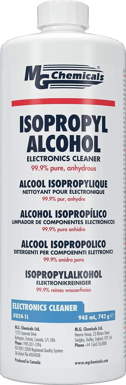 MG Chemicals - 824-1L 99.9% Isopropyl Alcohol Electronics Cleaner, 945 mL (1 Quart) Liquid Bottle