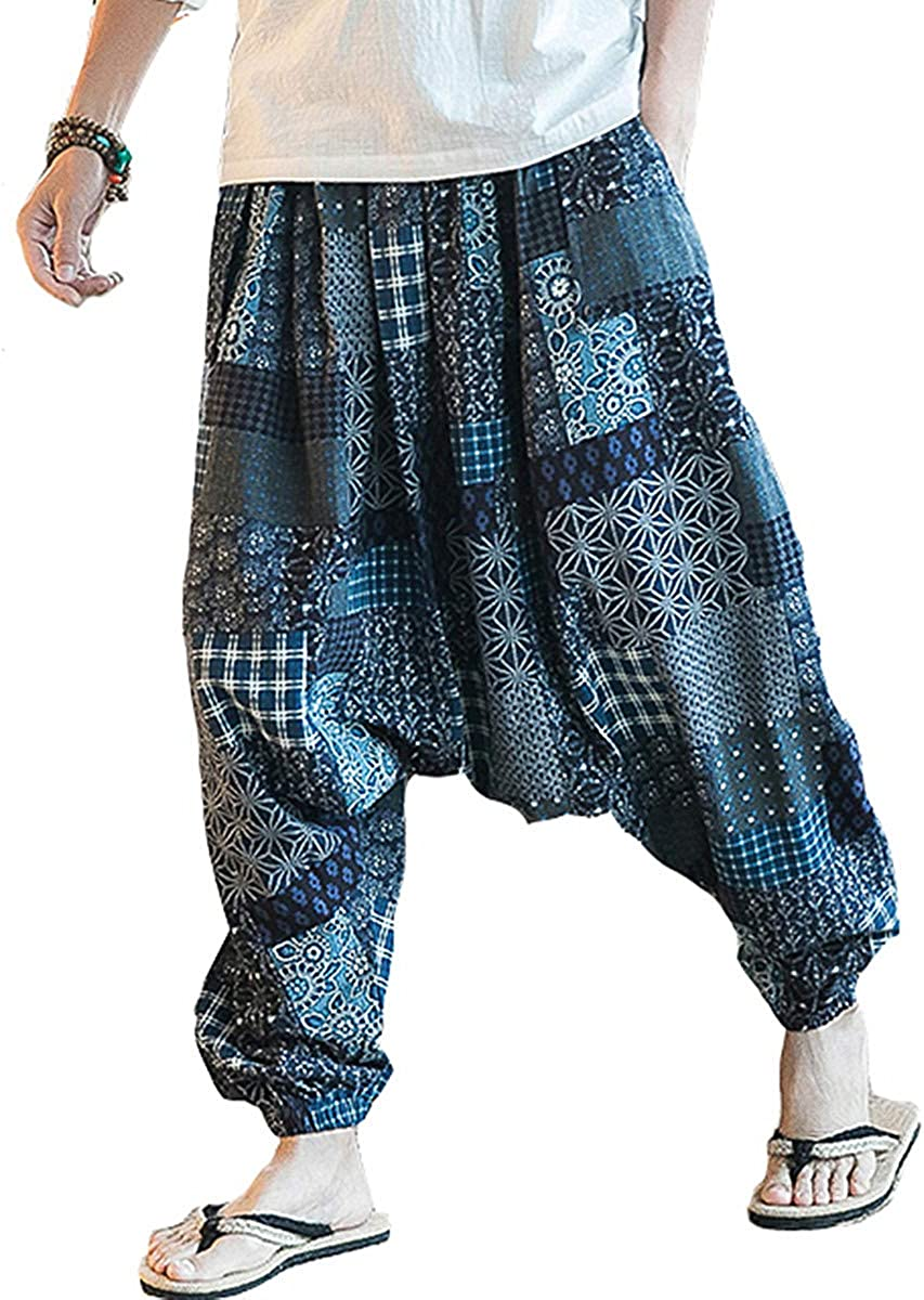 PERDONTOO Men Women Cotton Harem Yoga Baggy Genie Boho Pants: Clothing
