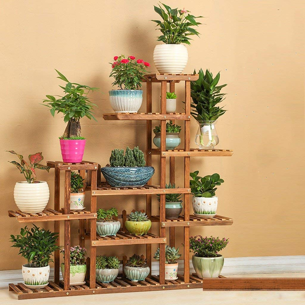 A Garden Flower Pot Rack Home Flower Stand Durable Flower Stand Solid Wood Balcony Multi-storey Wooden Living Room Succulent Bonsai Frame Floor-standing Indoor Flower Shelf (color   A) ( color   A )
