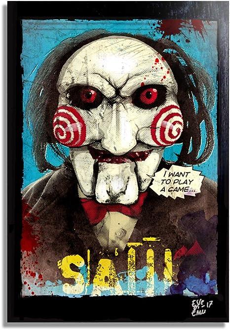 Billy el titere de Saw (Jigsaw) - Pintura Enmarcado Original, Imagen Pop-Art, Impresión Póster, Impresion en Lienzo, Cuadro, Cómics, Cartel de la Película, Horror, Halloween: Amazon.es: Hogar