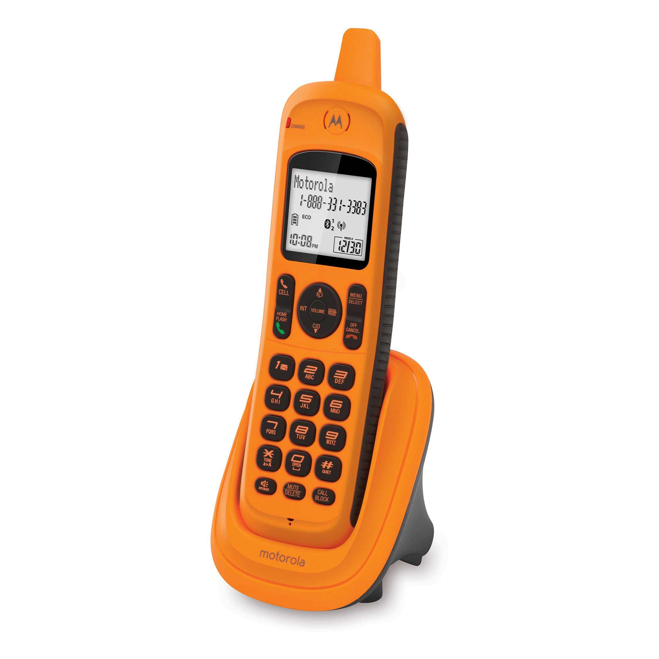 Motorola XT8 Connect-to-Cell Rugged Waterproof Accessory-Handset Cordless Phone with Caller ID, Call Block, Answering Machine, Redial, DECT 6.0, Full Duplex Handset Speakerphone, Amber