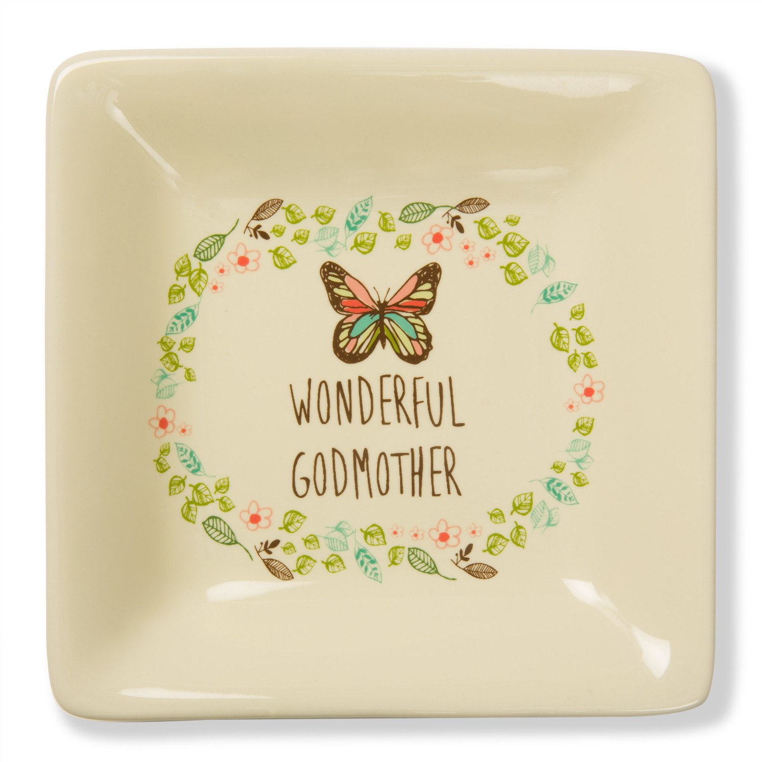 Pavilion Gift Company A Mother's Love - Wonderful Godmother Floral Butterfly Stoneware Jewerly Dish 4.5 Inch, Floral, Cream