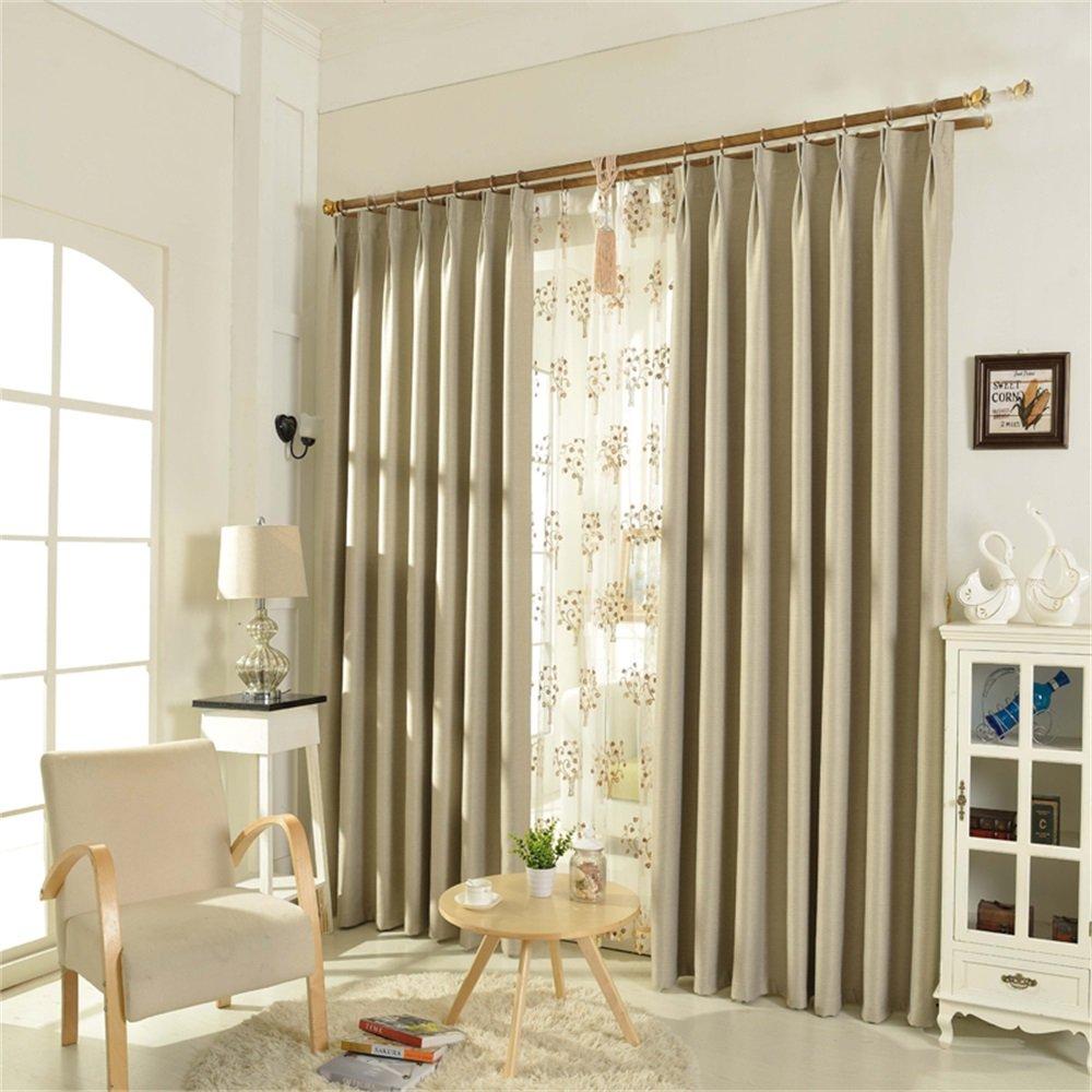 HOME UK- Ein Satz von 2 Pcs Voll Schattierung Moderne Einfachheit verdicken Wohnzimmer Schlafzimmer fertig Produktvorhang Stoff Twill Leinen Baumwolle ( größe : 2.7*2.7m (width*height) )